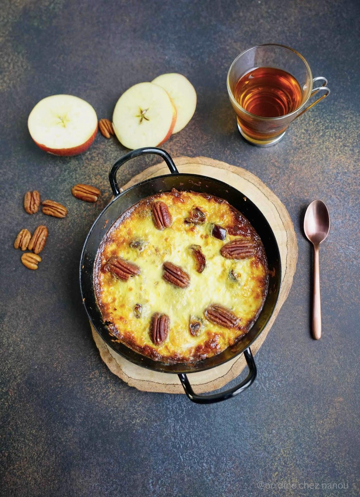 clafoutis d'hiver , lait de coco , oeufs , pommes , cannelle , gouter , patate douce sucrée