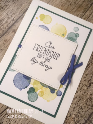 A hand-stamped, Bokeh-inspired friendship card made using the Beauty Abounds stamp set and Blueberry Bushel ink, both by Stampin' Up!