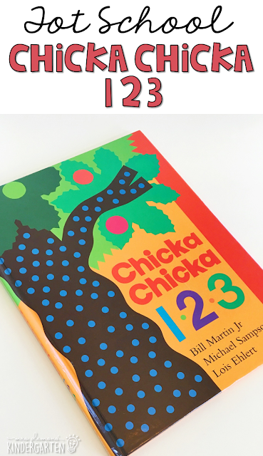 Chicka Chicka 123 is the perfect book to use for introducing tracking print. Grab a pointer or princess wand and point to each number while counting the numbers in the front and the back of the book. Perfect for tot school, preschool, or even kindergarten.