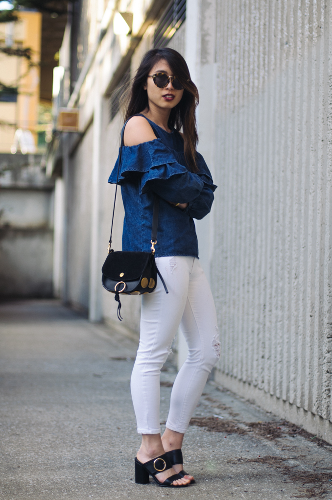 san francisco fashion blogger wearing asos cold shoulder top chloe kurtis bag mac retro matte lipstrick in carnivorous