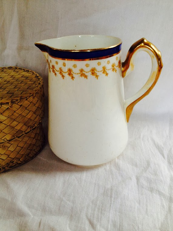 White and blue with gold trim, William Lowe Vintage Milk Jug
