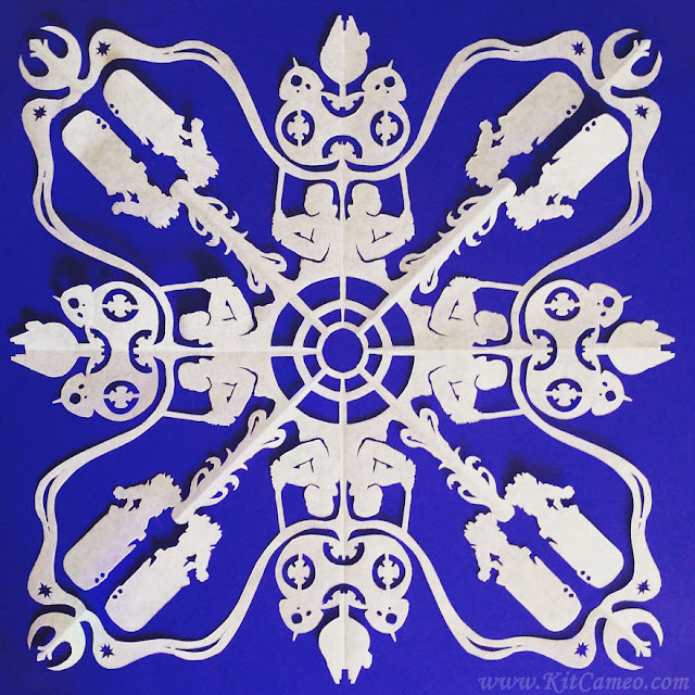 paper-cut snowflakes with highly detailed