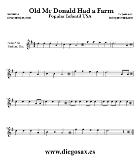 Partitura de En la Granja del Viejo MacDonald para Saxofón Alto, Barítono y Trompa Canción Popular Infantil USA Old MAcDonald Had a Farm Music Score Alto and Baritone Saxophone Sheet Music Children's song
