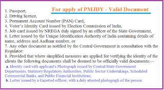 Required Documents for PMJDY Account  Opening