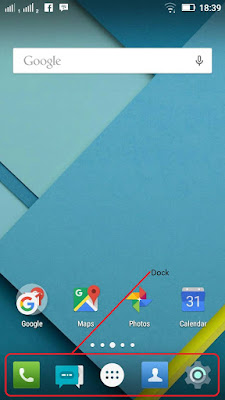 posisi dock notification bar perangkat hp
