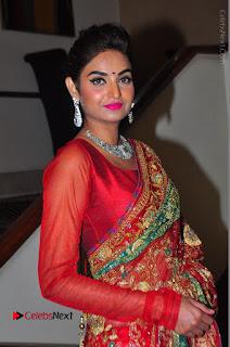 Model Sharon Fernandes Stills in Red Saree at Trendz Exhibition Launch  0017.JPG