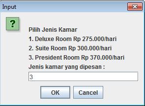 inputan dinamis dengan JOptionPane dan BufferedReader kegiatan reservasi hotel dengan java oop - inputan dinamis
