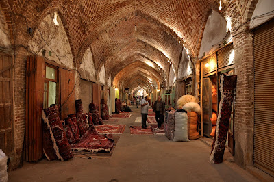 Carpet sellers in historical bazaar of Tabriz.