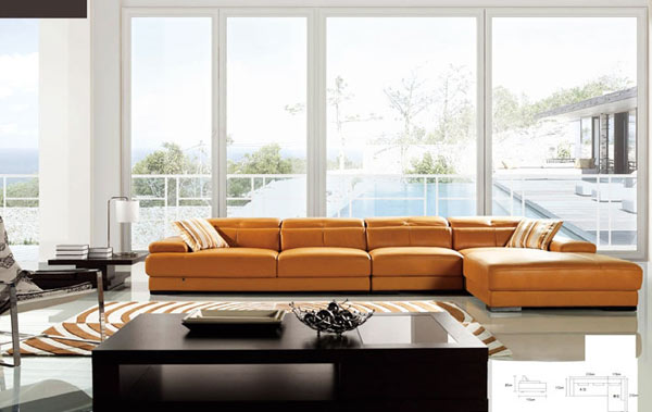 Unique Leather Sofa Sets For Living Room With Marble Flooring