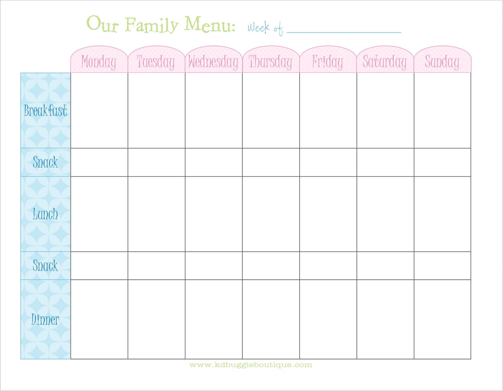 Freebie Weekly Menu Planner Download