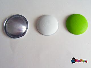 taglia e colora la lattina per creare il bottone di alluminio