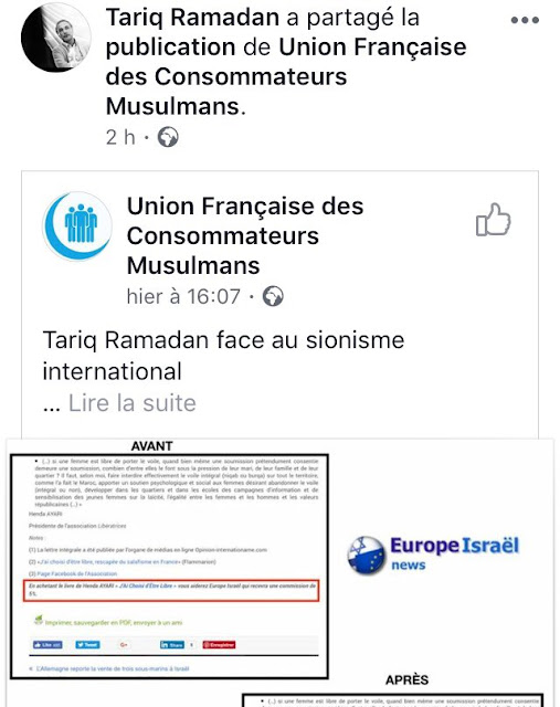 Tariq Ramadan relaye sur sa page Facebook une campagne antisémite