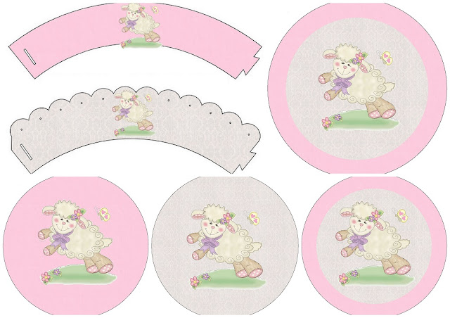 Ovejita en Fondo Rosa: Toppers y Wrappers para Cupcakes para Imprimir Gratis.