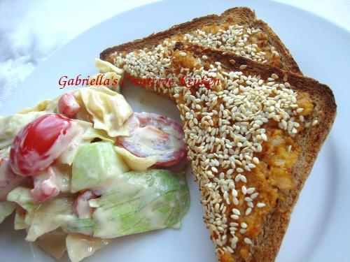 Aziatische salade met garnalentoastjes  van Grabriella