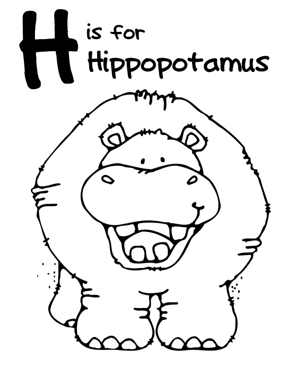 Hippo coloring pages for preschoolers ~ We Love Being Moms!: A-Z Zoo Animal Coloring Pages