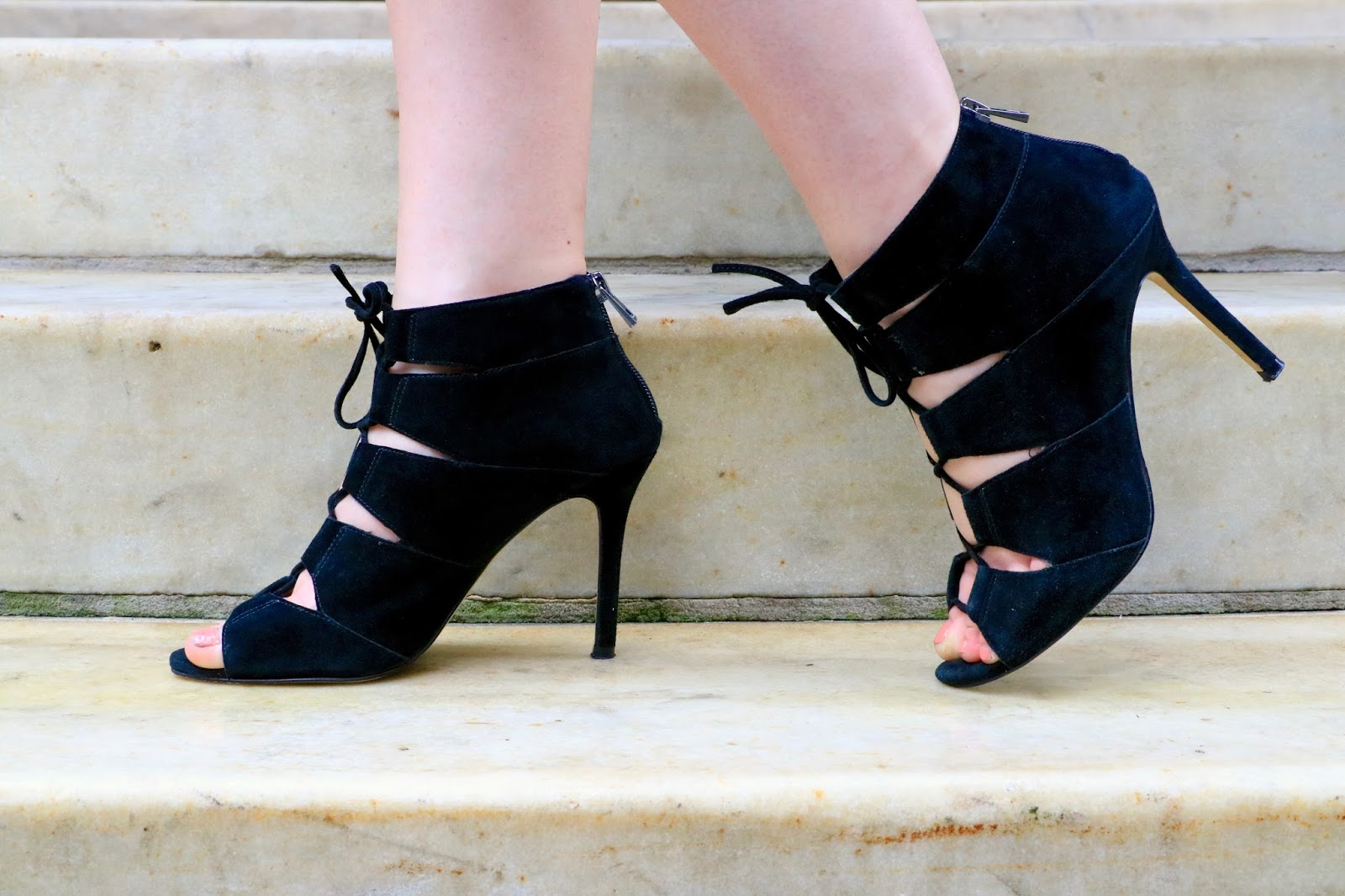 ann taylor black lace up heels