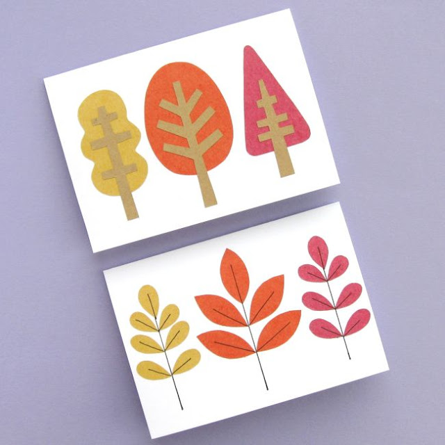 autumn fall leaf and tree cards