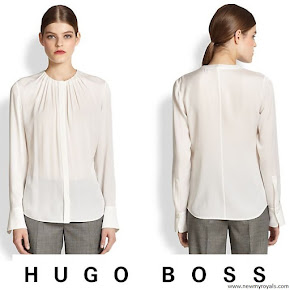 Queen Letizia wore Hugo Boss Banora 2 Silk Blouse