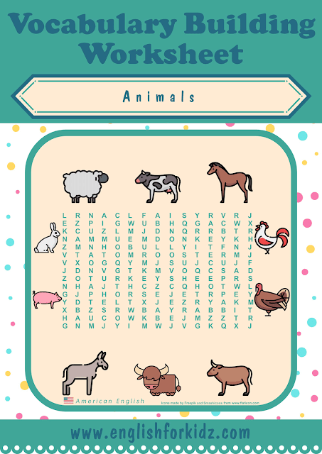 Farm animals word search worksheet - printable ESL materials