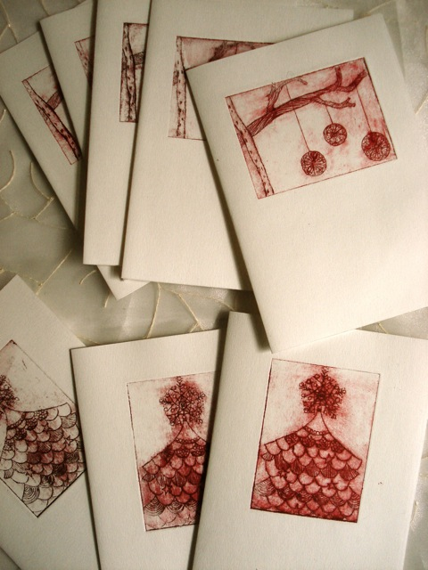 Illustration Drypoint Nakomie Christmas Cards Printmaking