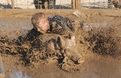 Garoto tentando agarrar um porco no meio da lama