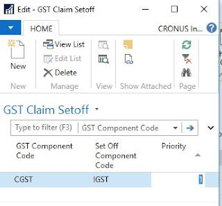 GST Claim Setoff setup Dynamics NAV