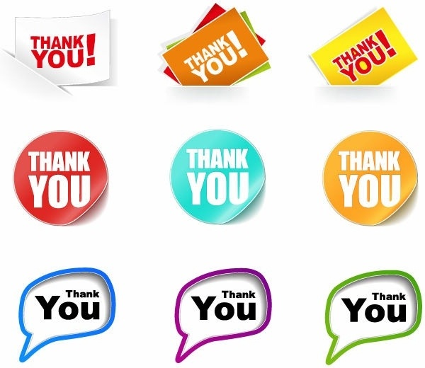 Thank You Stickers Vector Collection Free vector