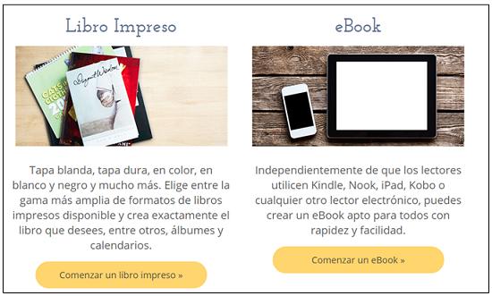 Selección en Lulu del tipo de libro a publicar: impreso o digital