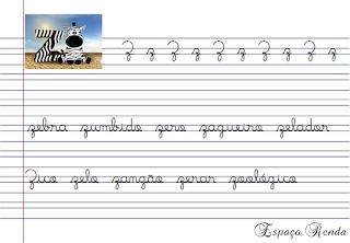 caderno de caligrafia letra Z