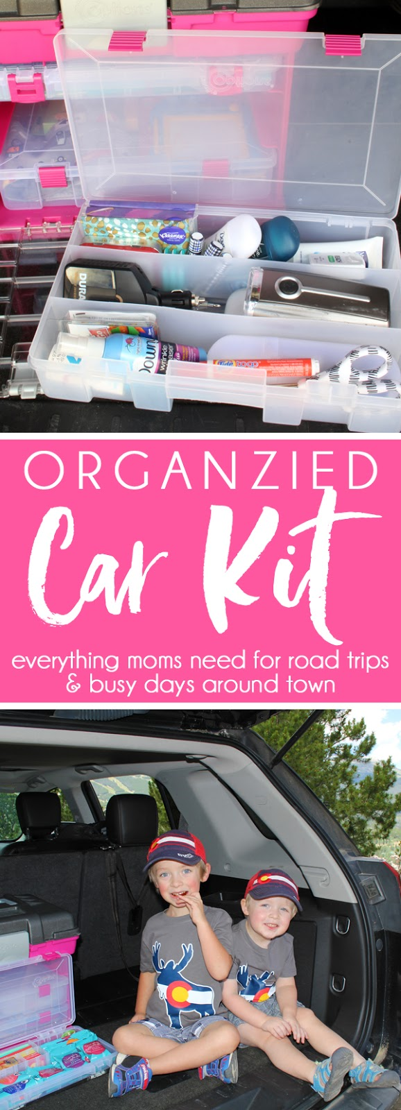An ORGANIZED CAR KIT for families always on the go. DIY car storage and organizing tips to always be prepared with first aid, snacks, tools, hygiene, clothing care, and entertainment. The perfect car organizing hack with everything moms need for road trips and busy days around town.