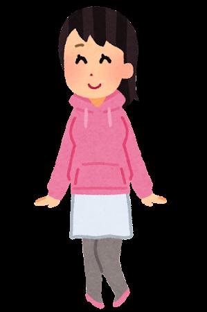 パーカーを着た人のイラスト(女性)