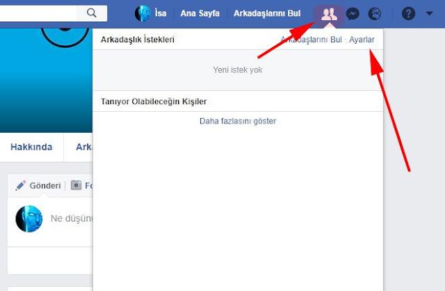 facebook arkadaşlık isteği ayarı