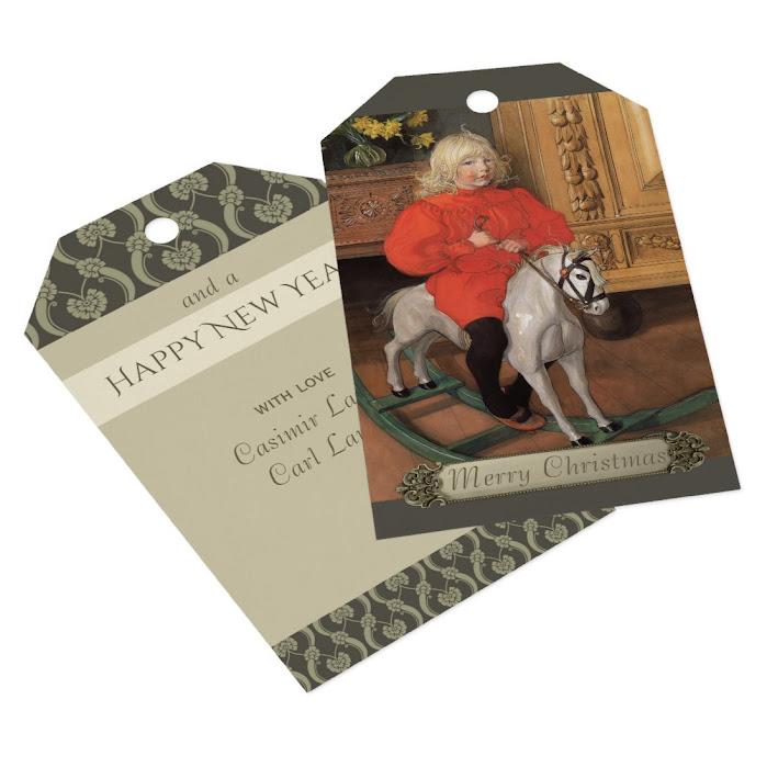 Christmas Carl Larsson Boy on rocking horse CC1062 Gift Tags