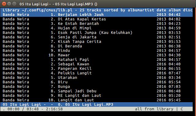 Putar Musik Lewat Terminal di Linux Menggunakan CMus
