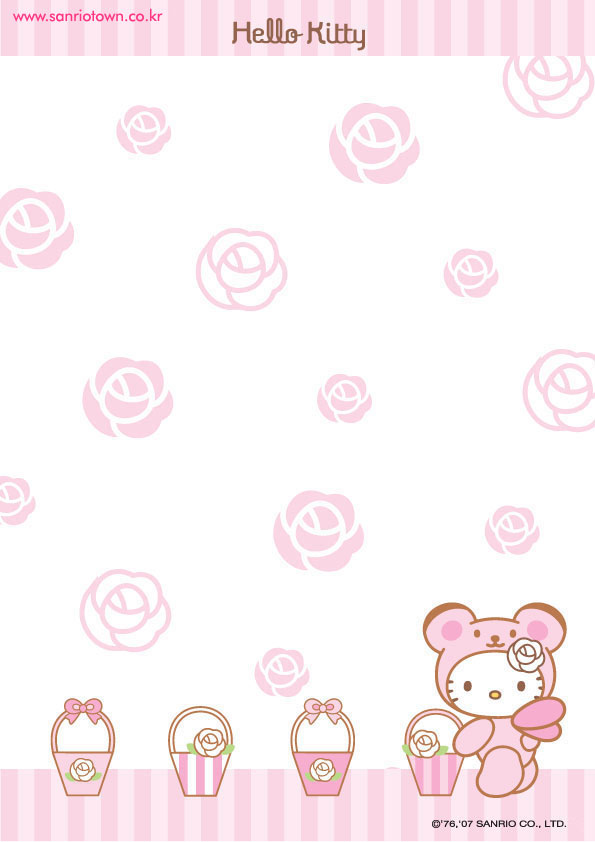 Cute Hello Kitty free printable letter paper stationary esquelas - printable letter paper with lines