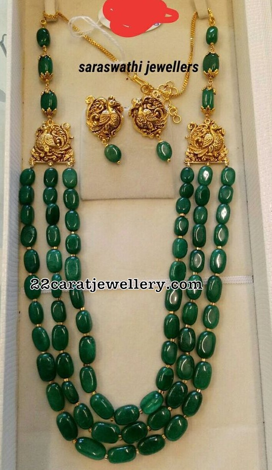 Green Beads Long Chain with Parrots