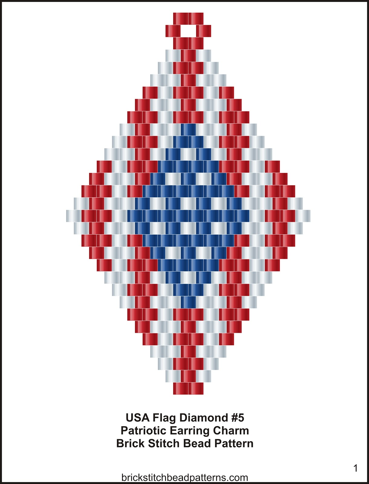 Brick Stitch Bead Patterns Journal: USA Flag Diamond #5 ...