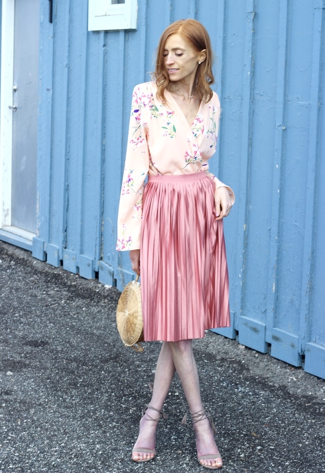 Peach Floral Romper Necessary Clothing / Satin Pink Midi Skirt Topshop / DIY woven straw basket bag / Le Chateau Tie Up Ghillie Sandal - Pastels & Pastries Spring Easter Style