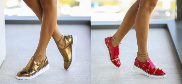 Pantofi causal dama aurii, rosii de toamna ieftini online la moda