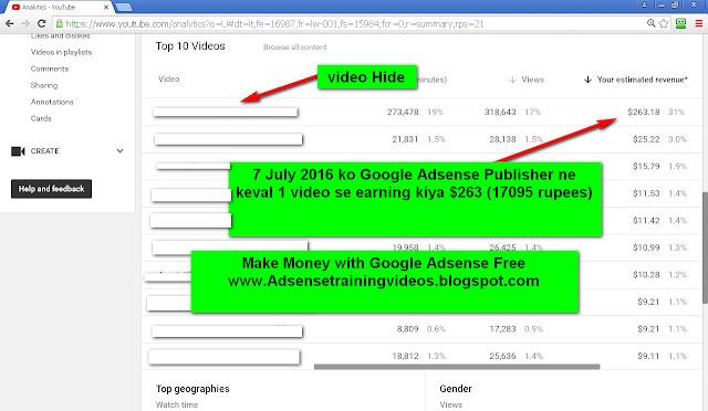 7 July 2016 ko Google Adsense publisher ne keval 1 youtube video ke dwara 17095 rupees ka earning kiya-see screenshot