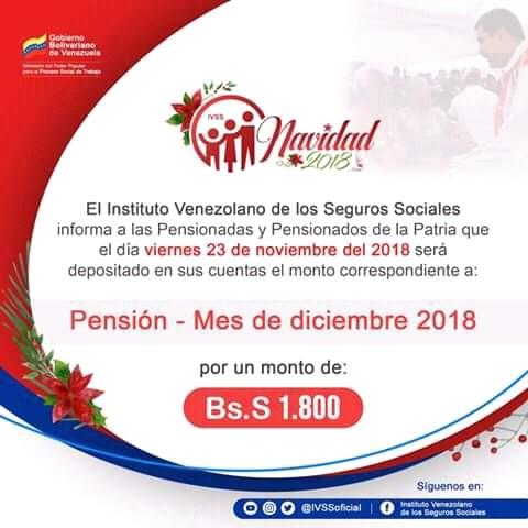 Cobro de Pensión Mes de Diciembre 2018 (IVSS) (ACTUALIZADO)