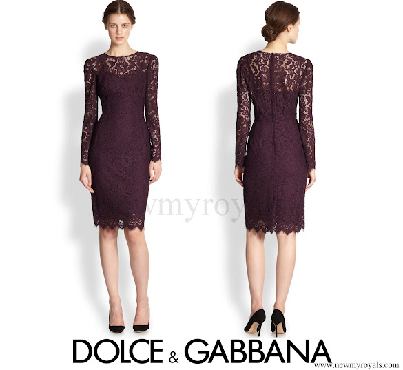 Crown Princess Mary wore Dolce & Gabbana Purple Long-sleeve Floral-lace Scalloped Sheath Dress