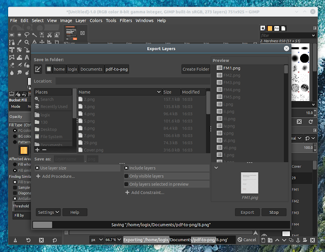 GIMP Exporting layers as PNG images