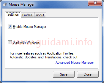 Mouse Manager scheda Settings