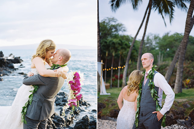 bride and groom on maui for their wedding