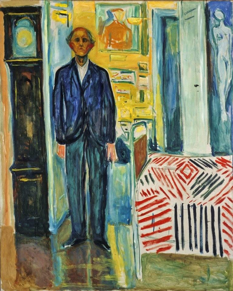 Autorretrato - Entre o Relógio e a Cama - Munch, Edvard esuas principais pinturas ~ Um grito de desespero existencial