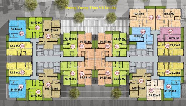 Mặt bằng tòa G1 + G2, chung cư Five Star Garden.