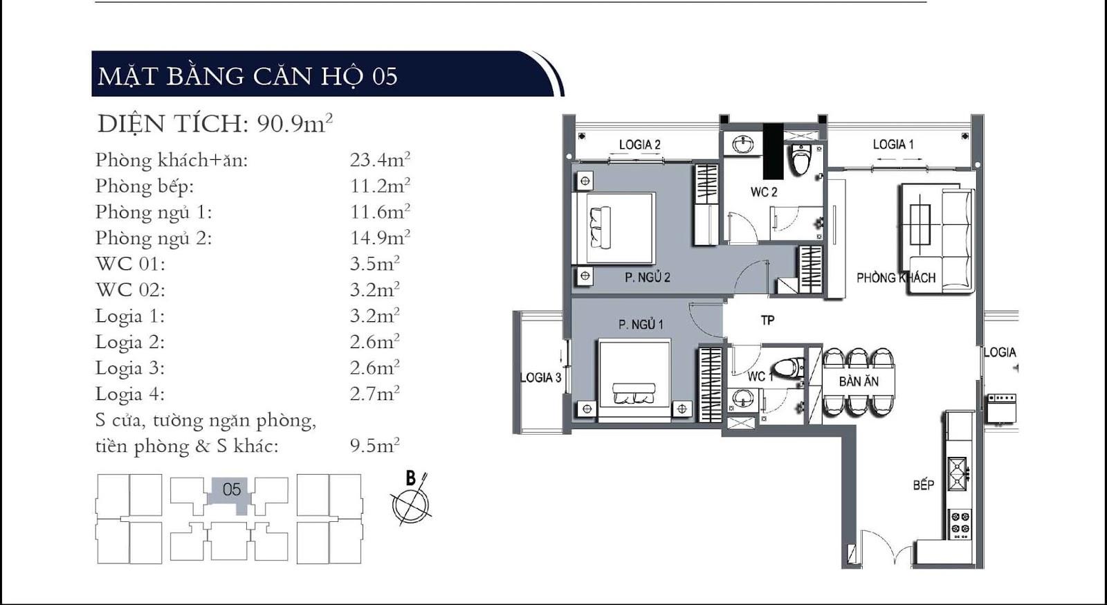 Mặt bằng căn hộ 05 dự án One 18 Ngọc Lâm