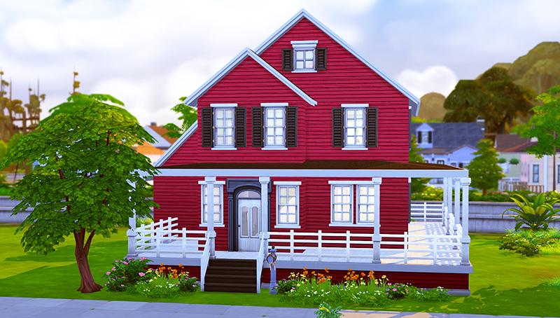Burgundy Craftsman House Sims 4 Houses