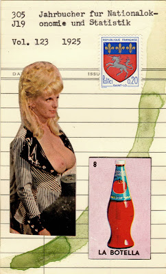 coat of arms postage stamp vintage nude la botella loteria mexican lottery card bottle blonde library card Dada Fluxus mail art collage